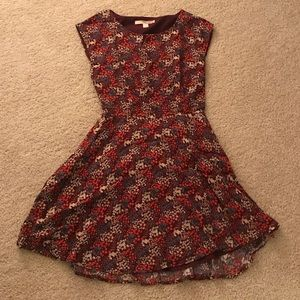 Maroon floral dress with open back detail